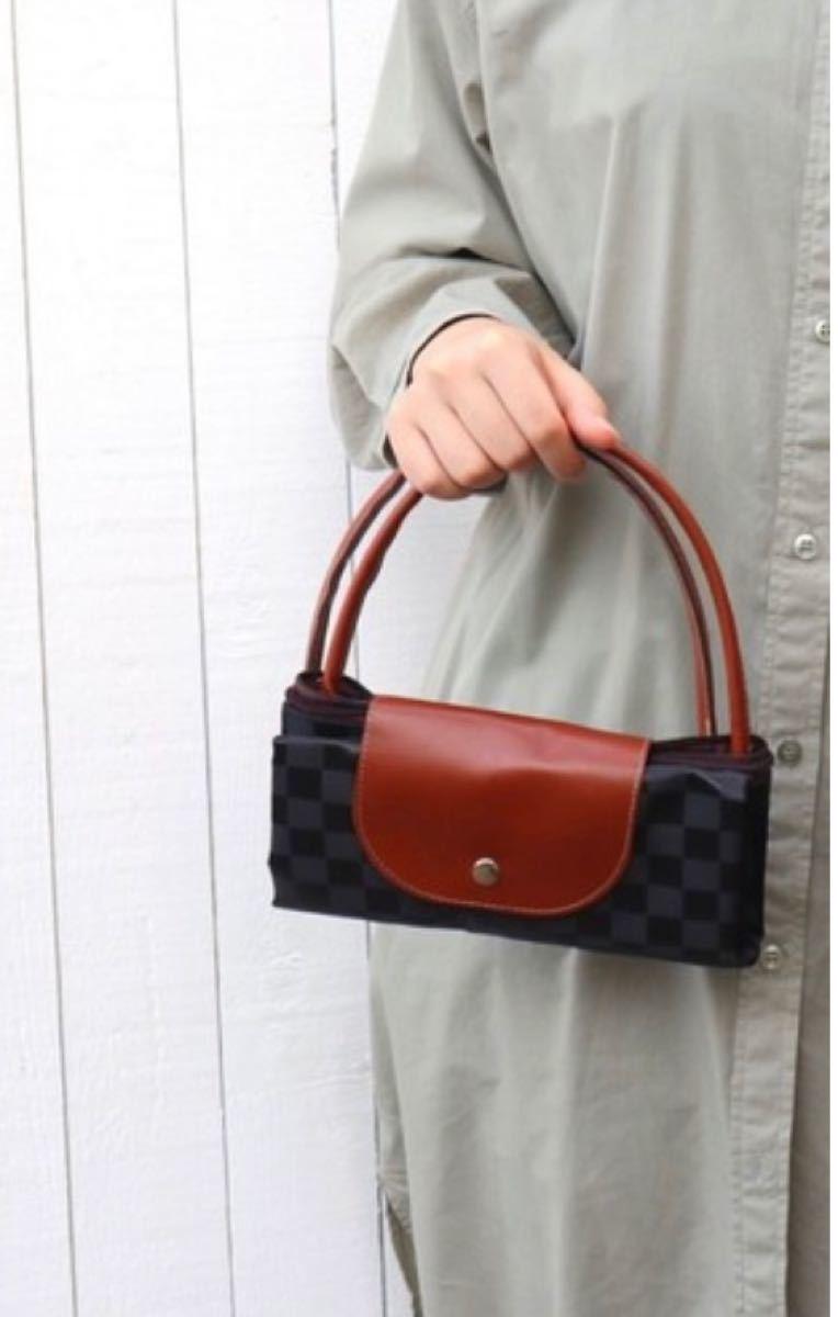 【ブラック】エコバッグ 大容量 折り畳み コンパクト 買い物袋 レジ袋 トートバッグ 収納 チャック付き 便利 レディース