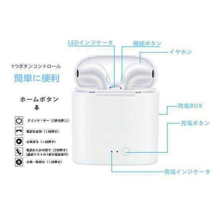 Bluetooth 完全ワイヤレスイヤホン イヤホン イヤフォン iPhone Android 日本語説明書_画像4