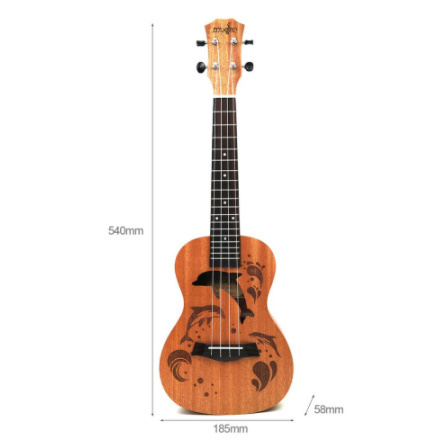 21インチ プロサペリイルカパターン ウクレレギター マホガニーネック 繊細なチューニングペグ 4弦の木製ウクレレ ギフト_画像5