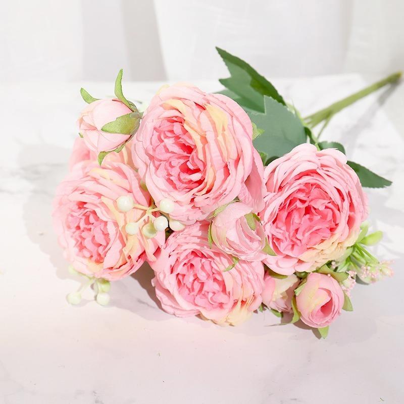 フェイクフラワー ピンク シルク牡丹 人工花 ローズ 結婚式ホーム diy ビッグブーケ アクセサリークラフト白_画像1