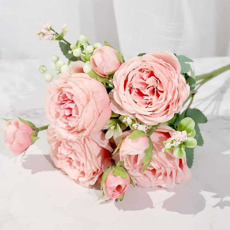 フェイクフラワー ピンク シルク牡丹 人工花 ローズ 結婚式ホーム diy ビッグブーケ アクセサリークラフト白_画像2
