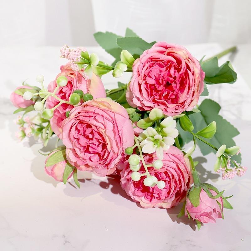 フェイクフラワー ピンク シルク牡丹 人工花 ローズ 結婚式ホーム diy ビッグブーケ アクセサリークラフト白_画像3