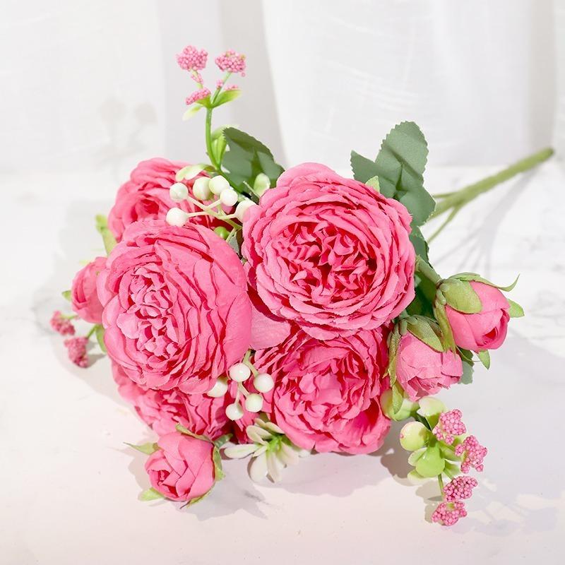 フェイクフラワー ピンク シルク牡丹 人工花 ローズ 結婚式ホーム diy ビッグブーケ アクセサリークラフト白_画像4