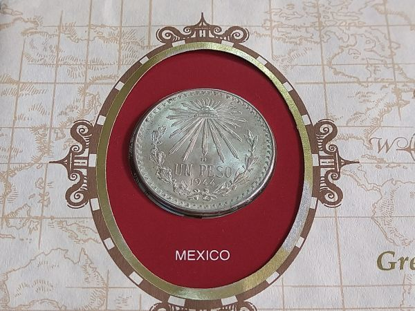 メキシコ 1ペソ銀貨 1944年 フランクリンミント