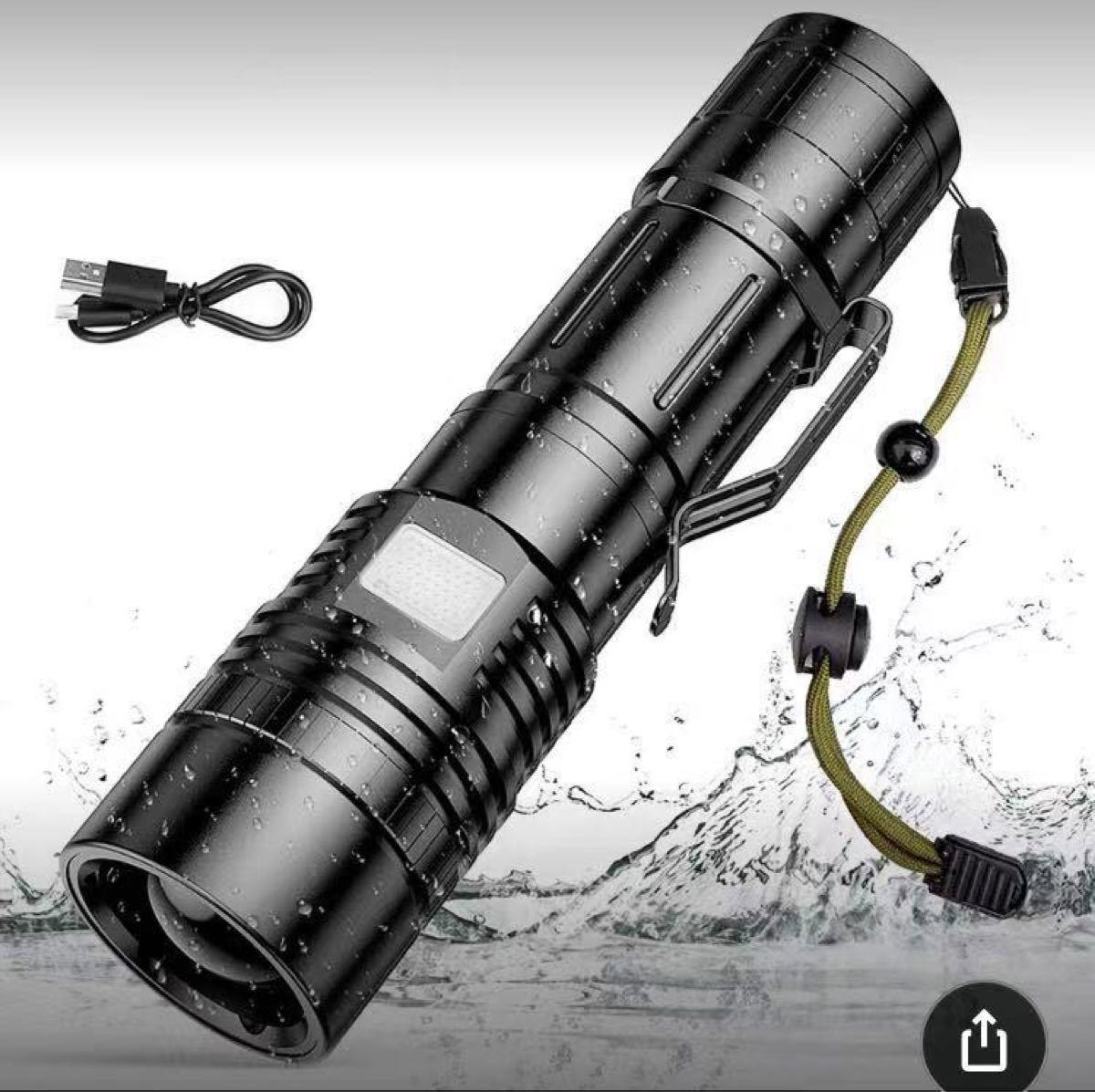 懐中電灯 充電式 高輝度 LEDライト ハンディライト 強力 LED懐中電灯 防災グッズ