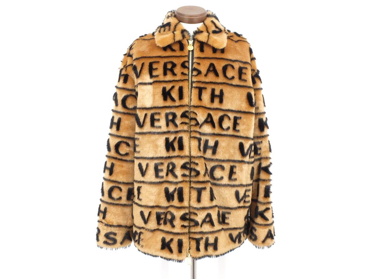 超美品【VERSACE ヴェルサーチ】 KITH × VERSACE ファージャケット ロゴ メデューサ アクリル ブラウン×ブラック メンズ 46