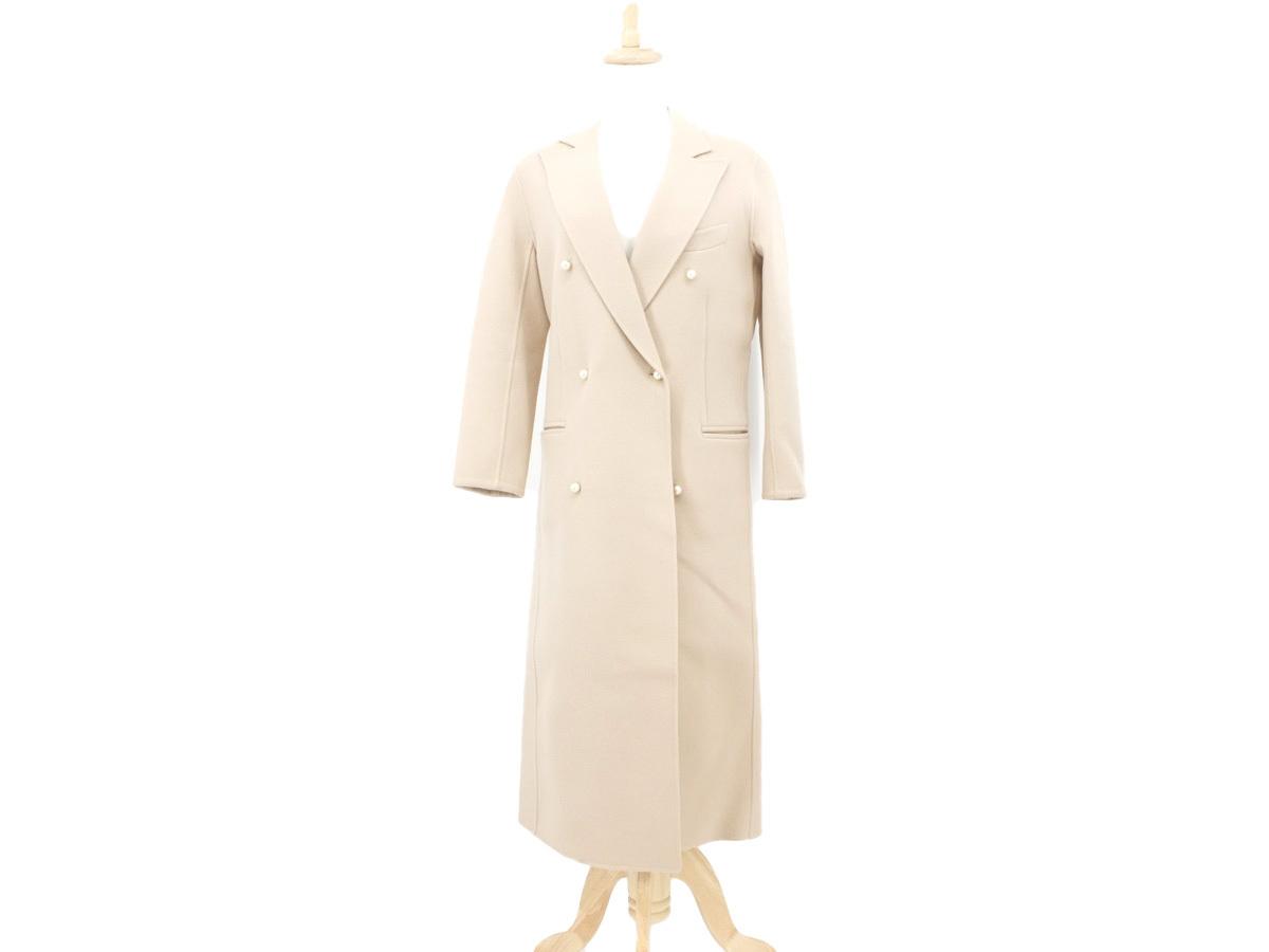 綺麗【MADISONBLUE マディソンブルー】 ロングコート チェスターコート パールボタン ウール ライトベージュ 1