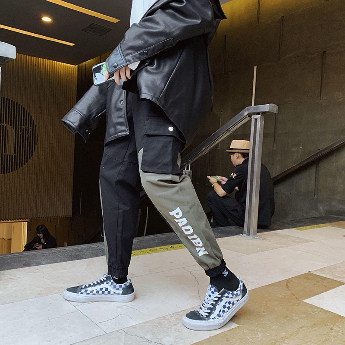 カーゴパンツ ジョガーパンツ ワークパンツ 切替え オルチャン 韓国 ストリート 春 バイカラー トレンド 人気 格安 割引
