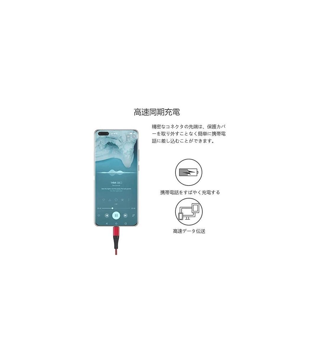 USB Type C ケーブル 3A 急速充電 3本セット 1m + 2m + 3m