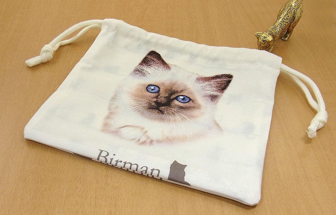 09 K ハンドメイド 手づくり 巾着 ポーチ バーマン 凛々しい 猫 ネコ ねこ キャット cat プレゼント 贈り物 _反対側も同じ柄です。