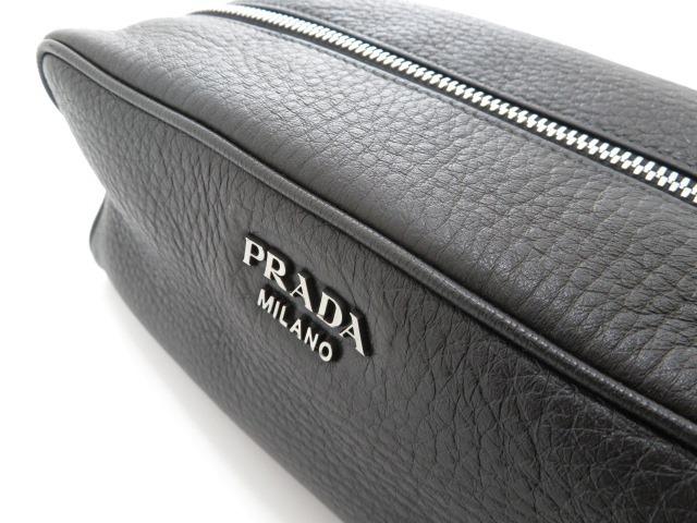 【大黒屋73】PRADA プラダ セカンドバッグ ポーチ 2NA001 カーフ ブラック_画像8