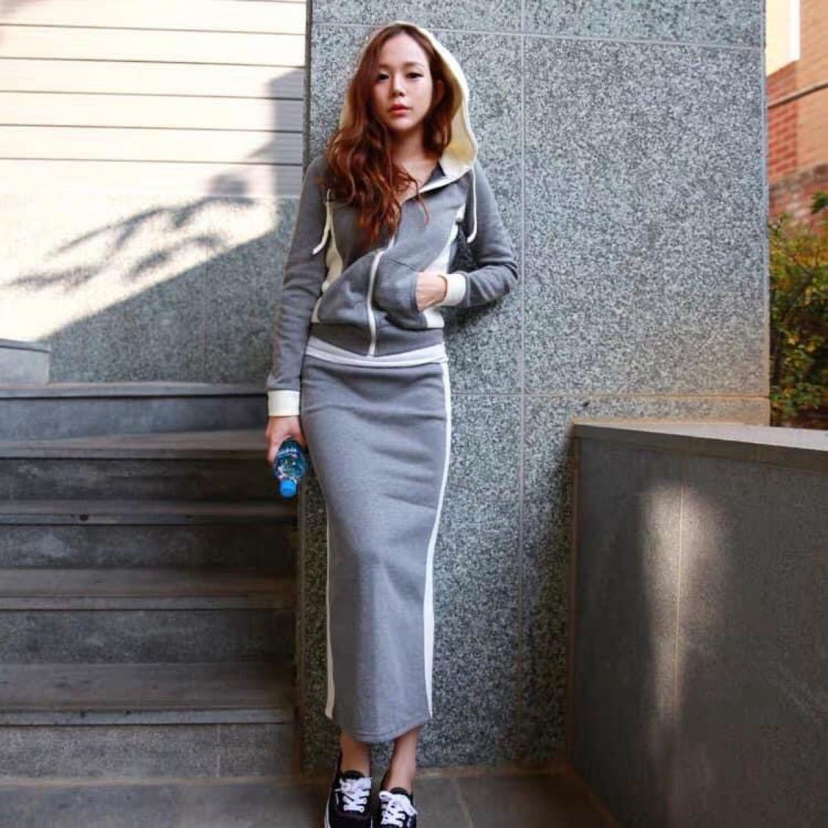セットアップ パーカー トレーナー スウェット ロングスカート 韓国ファッション ルームウェア お散歩 ジム通い 運動会