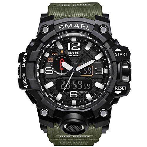 腕時計 メンズ SMAEL腕時計 メンズウォッチ 防水 スポーツウォッチ アナログ表示 デジタル クオーツ腕時計  多機能 ミリ_画像9
