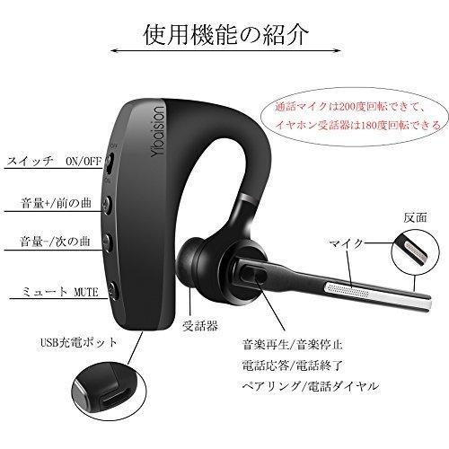 ■△☆黒K10C 【2020最新 Bluetooth ヘッドセット 5.0 片耳 ワイヤレス イヤホン高音質 マイク内蔵 ハンズ_画像4