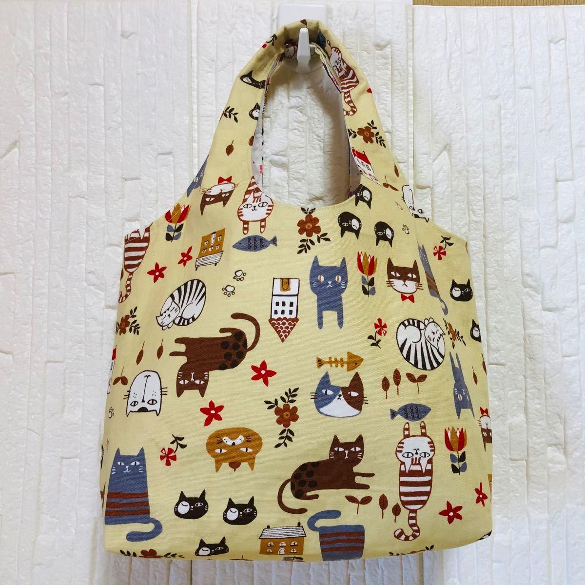 トートバッグ ポーチ ネコ柄 ミニトートバッグ ハンドメイドバッグ 巾着袋 ネコ増しました。
