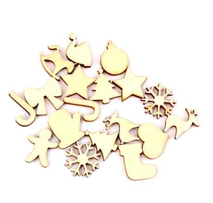 送料無料 50個 木製クリスマスフェスティバルパターン 装飾用 自然なスクラップブッキングクラフト 手作り DIY 手工 W6351_画像2