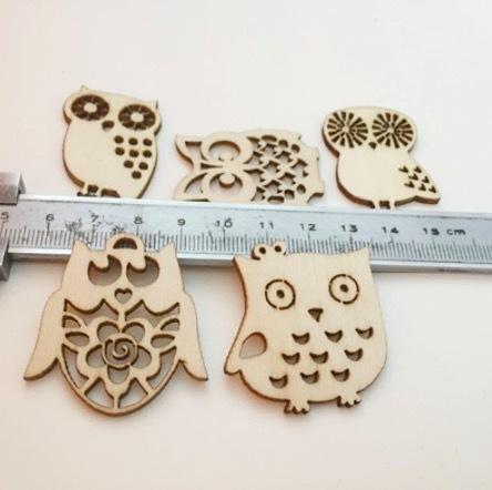 送料無料 10個 漫画 フクロウ木製 スクラップブッキングクラフト 装飾用 手作り Diy 手工芸品 家の装飾 アクセサ W7235_画像4