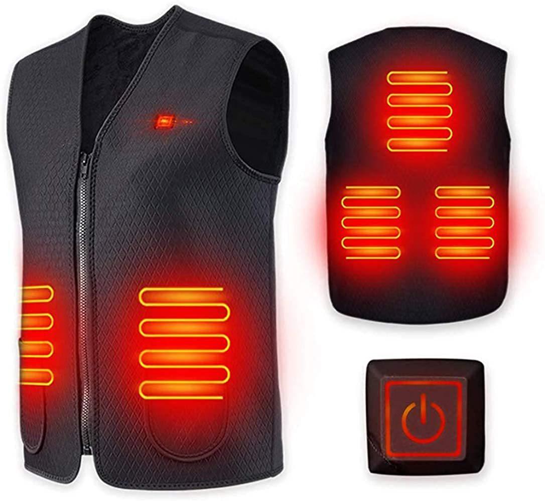 新品☆LIUDU ヒートジャケット 電熱ジャケット USB充電式 加熱ベスト 3段階温度調整 加熱服 ブラック 男女兼用 2021-0201-1-5777_画像1