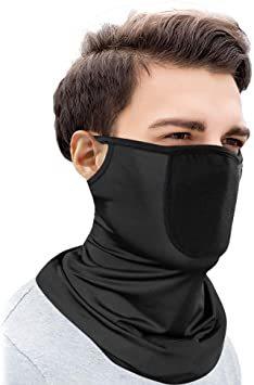 ブラック フェイスマスク フェイスカバー 冷感 吸汗速乾 uvカット ネックウォーマー ネックガード 耳掛け式 日焼け防止 洗え