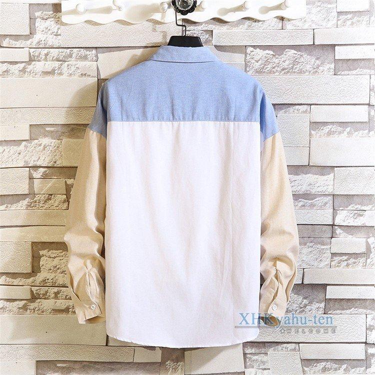シャツ メンズ カジュアルシャツ 長袖 配色 春物 カジュアルシャツ メンズ おしゃれ 長袖シャツ 切り替え シャツ トップス 開襟シャツ 春