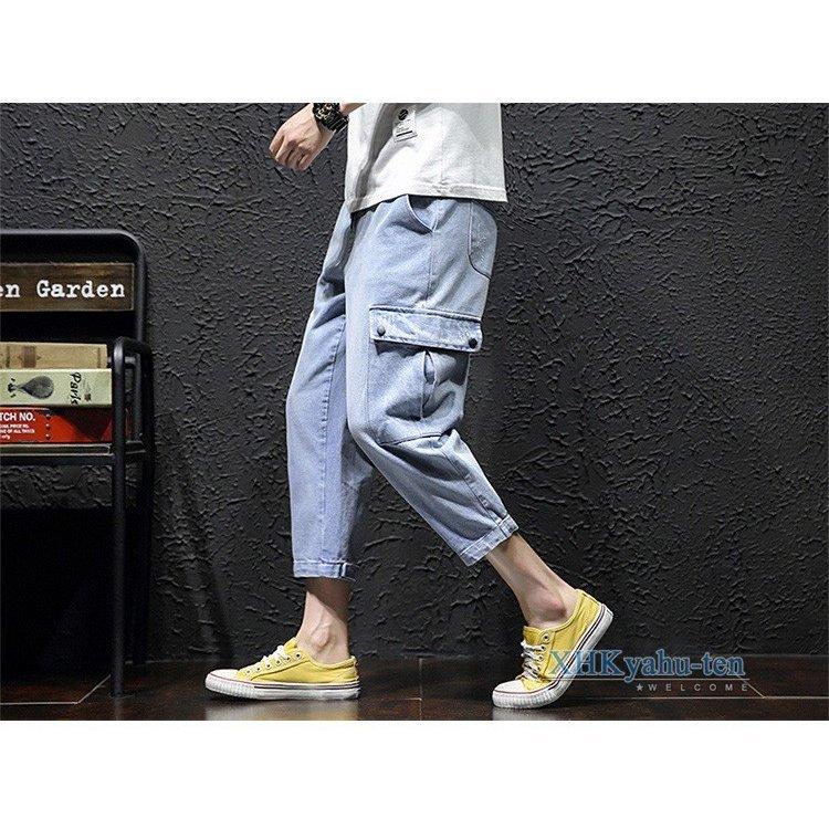 ジーパン メンズ カーゴパンツ デニム カジュアルパンツ カーゴパンツ ジーンズ メンズ デニム クロップドパンツ 作業着 ウォッシュ加工 _画像5