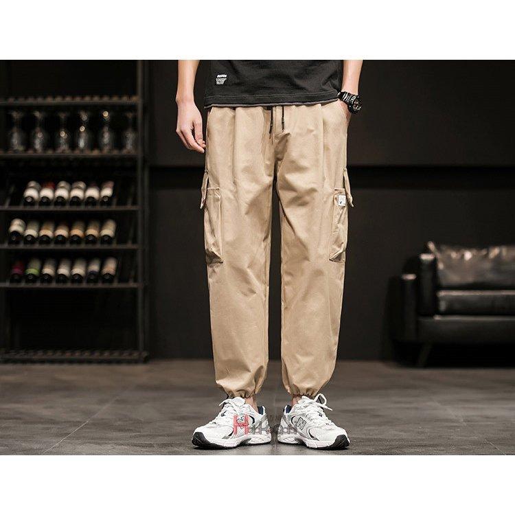 カーゴパンツ メンズ ボトムス パンツ ズボン 作業服 薄手 カーゴパンツ メンズ パンツ ボトムス イージーパンツ リブパンツ ロングパン