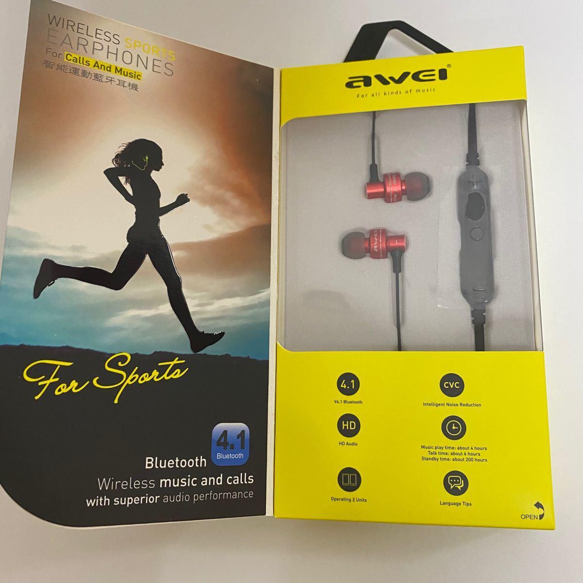 新品 Bluetooth ワイヤレス イヤホン AWEI A990 レッド 通話 ハンズフリー ワイヤレスイヤホン  カナル型