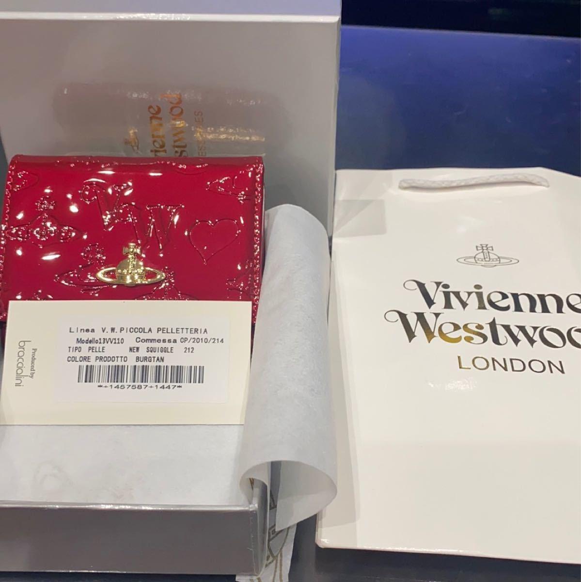 ヴィヴィアンウエストウッド Vivienne オーブ 赤 エナメル 三つ折り 財布 ミニ財布 コンパクト☆