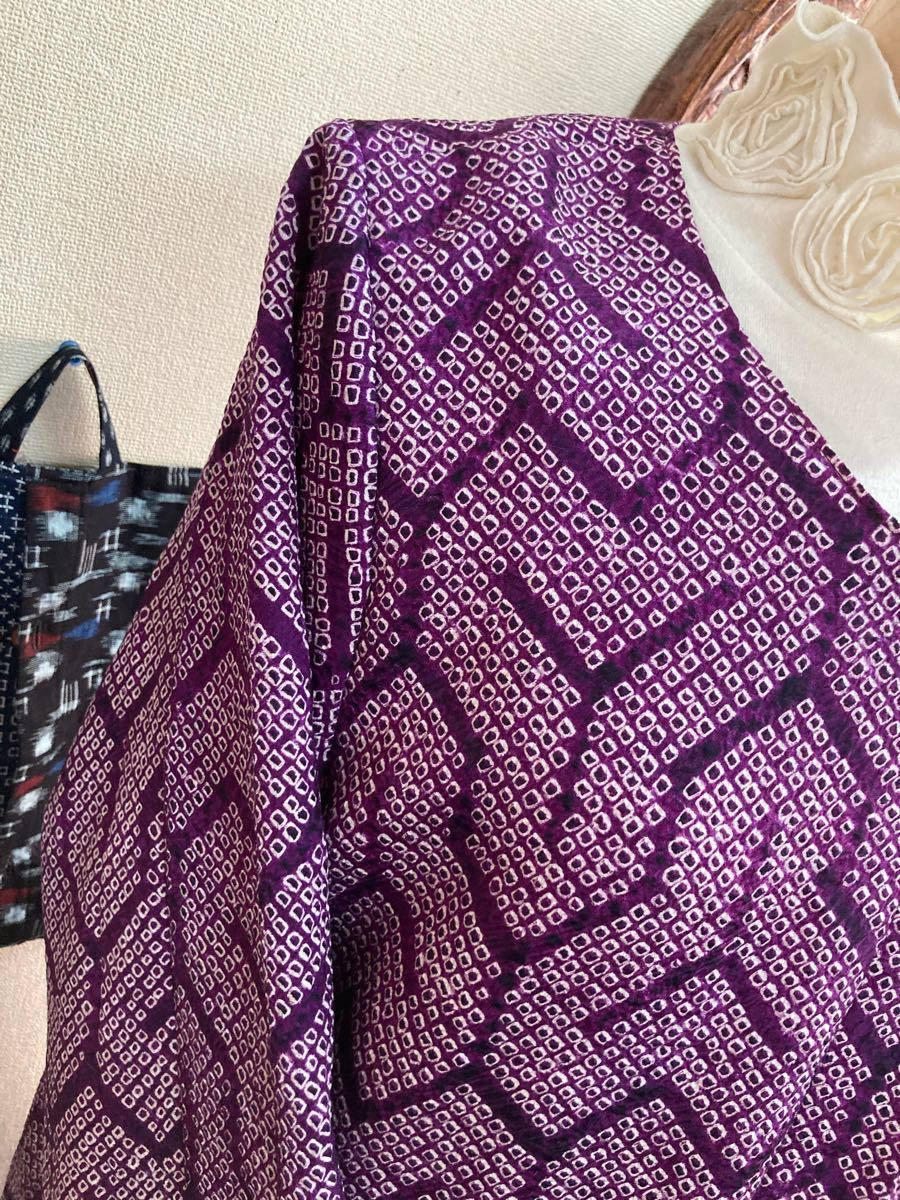 紫の総絞り ワンピース 着物リメイク