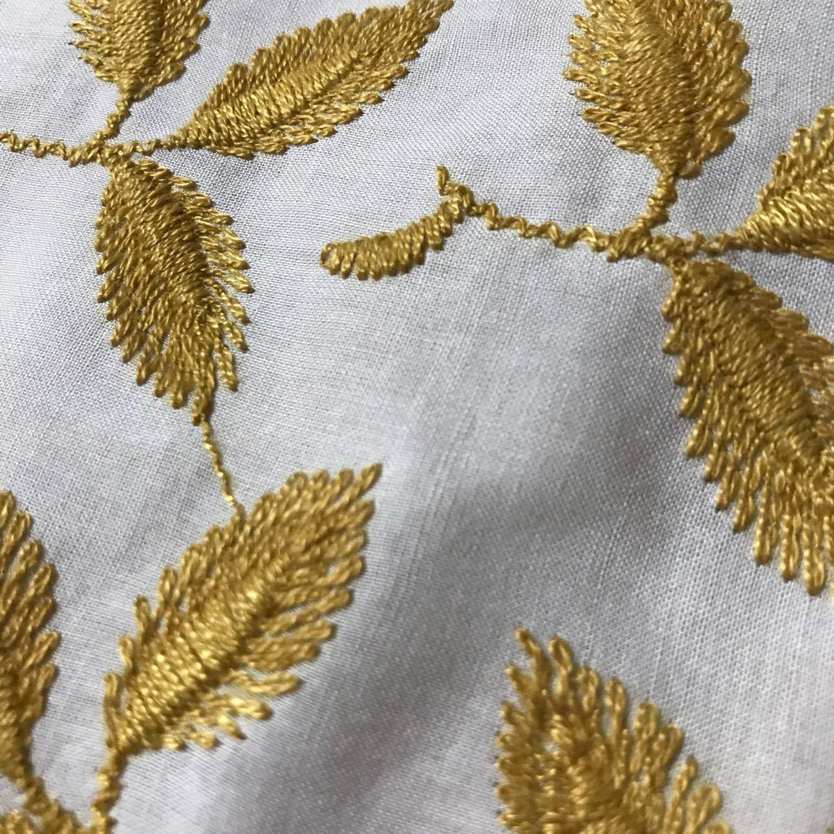 コットンレース生地 リーフ柄刺繍
