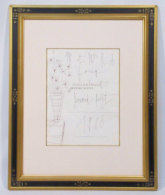 ベルナール・ビュッフェ 「花」 額装4号 版画集の巻頭ページに、ビュッフェがボールペンで描いた肉筆作品、超貴重です