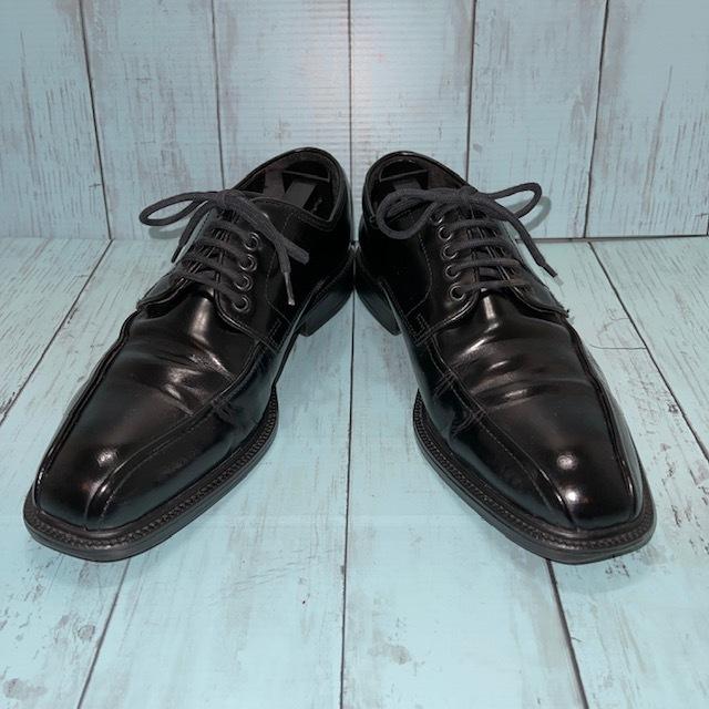 【即決/送料無料】Hawkins ホーキンス 25.0~25.5cm EUR40 スワールトゥ 黒 ブラック 革靴 ビジネスシューズ_画像1
