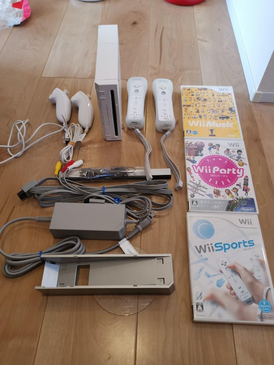 任天堂Wiiホワイト直ぐにみんなで遊べるセット(リモコン&ヌンチャク2個づつ&定番ゲーム3本)