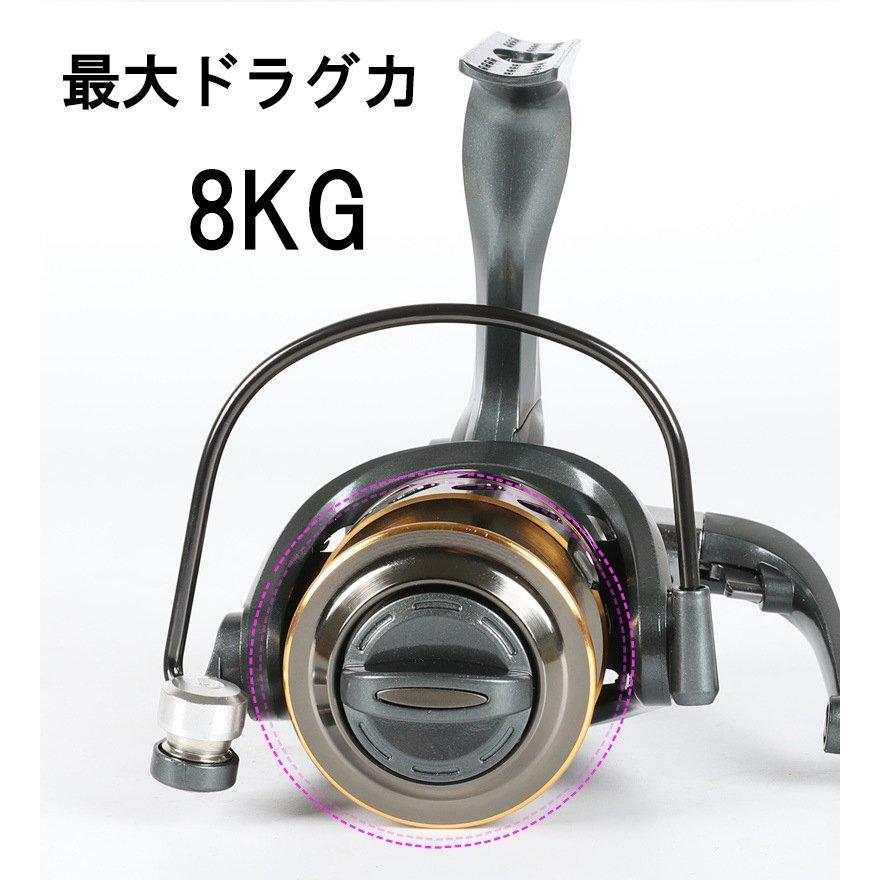 Z105 送料無料 フィッシング リール スピニングリール 3000番 釣り 海水 淡水 ギア比5.2:1 遠投 最大ドラグ力:8KG ハンドル左右交換_画像4