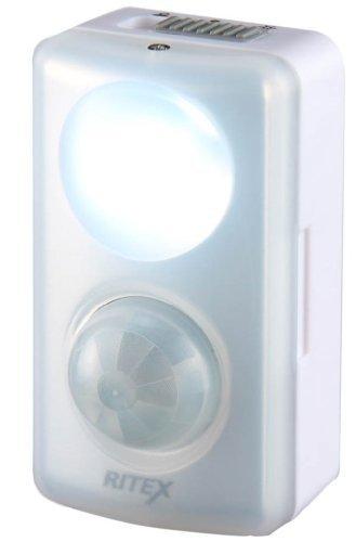 ホワイト ムサシ センサーライト RITEX LEDセンサーmini 乾電池式 室内 人感 ASL-015_画像1