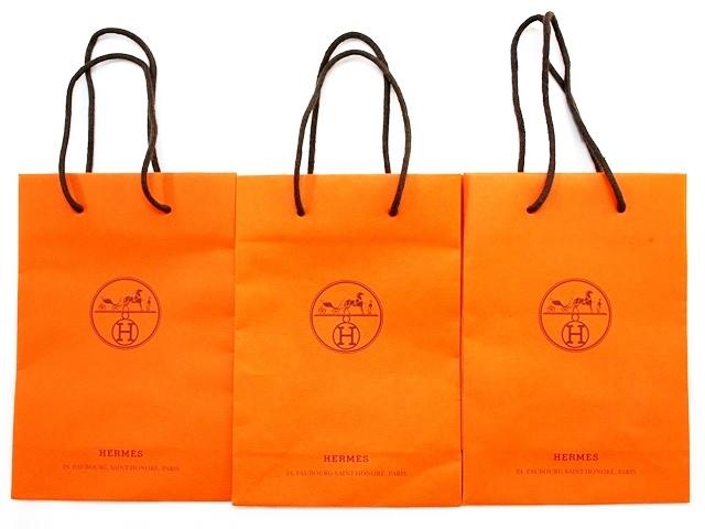 中古 HERMES エルメス 紙袋3点セット ショッピングバッグ H21.7×W15×D7cm_画像1