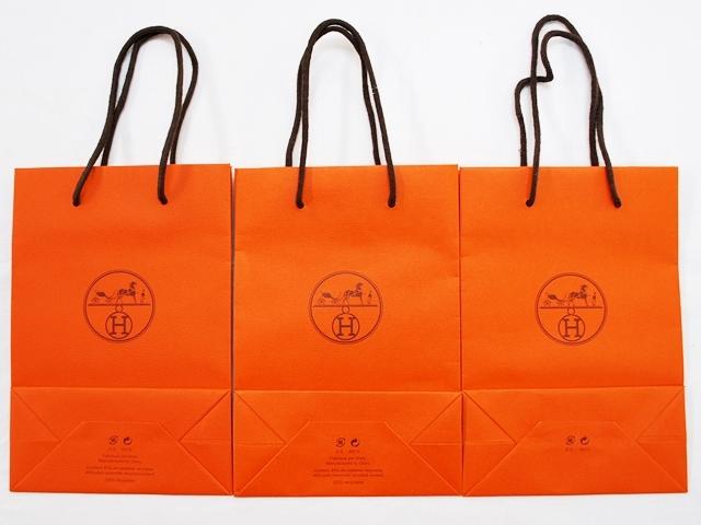 中古 HERMES エルメス 紙袋3点セット ショッピングバッグ H21.7×W15×D7cm_画像2