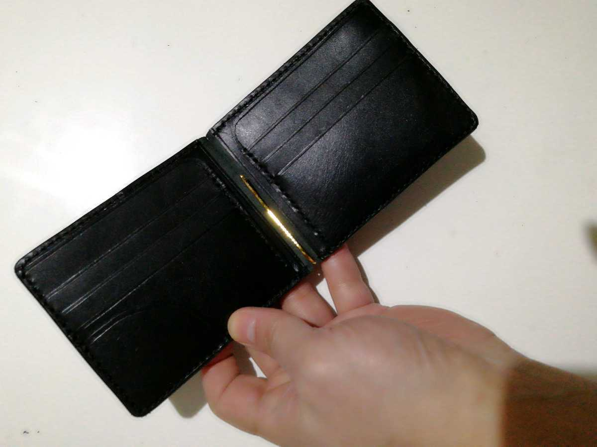 【ハンドメイド】黒ヌメ革のカード6枚収納マネークリップ_画像6