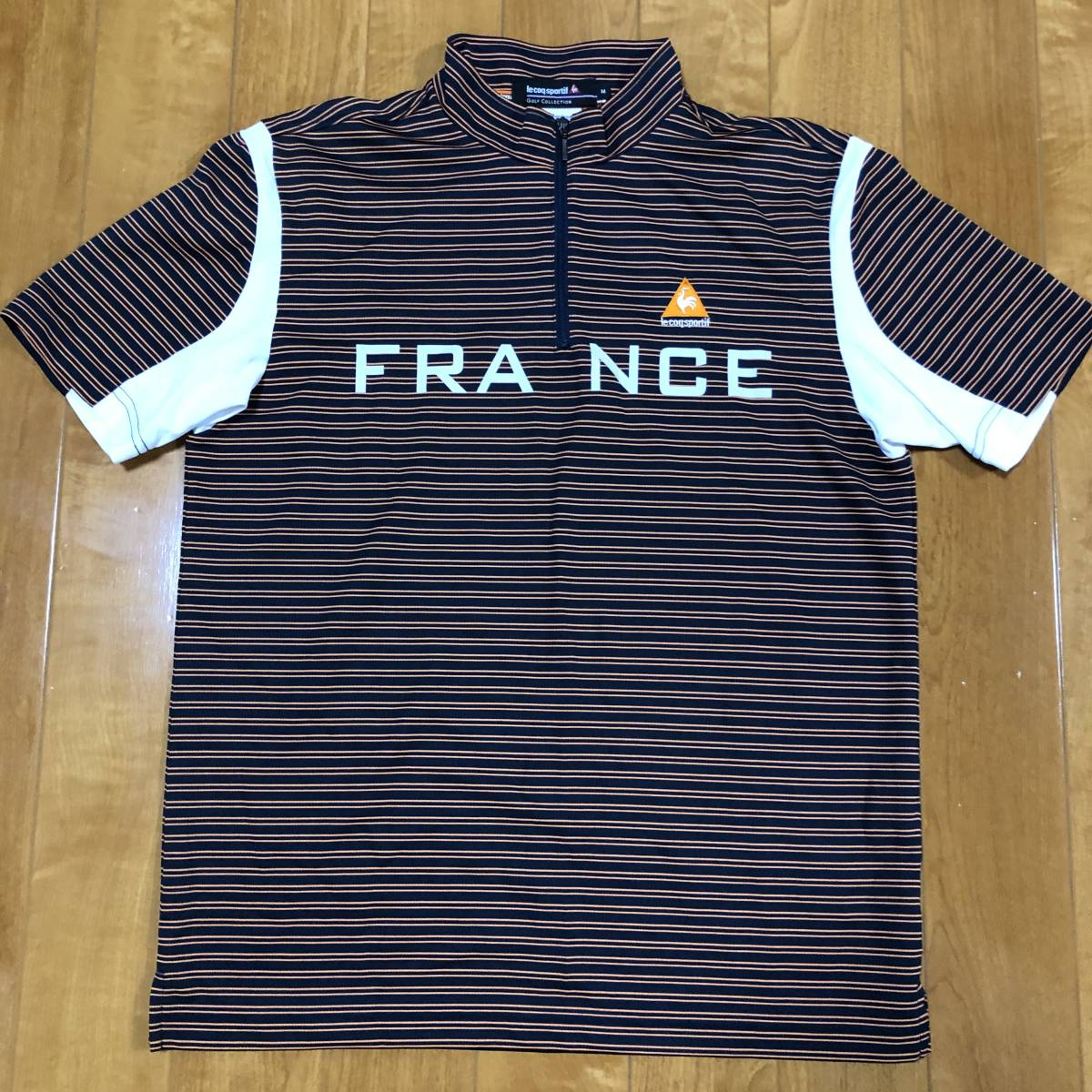 【le coq sportif golf】 ルコック ゴルフ ゴルフウェア 半袖 ハーフジップ ポロシャツ メンズ Mサイズ 美品!_画像1
