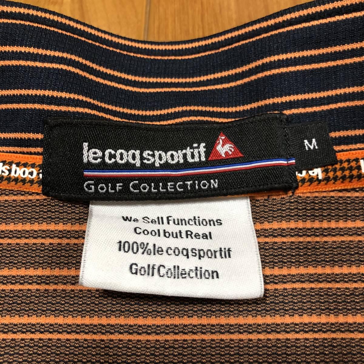 【le coq sportif golf】 ルコック ゴルフ ゴルフウェア 半袖 ハーフジップ ポロシャツ メンズ Mサイズ 美品!_画像3