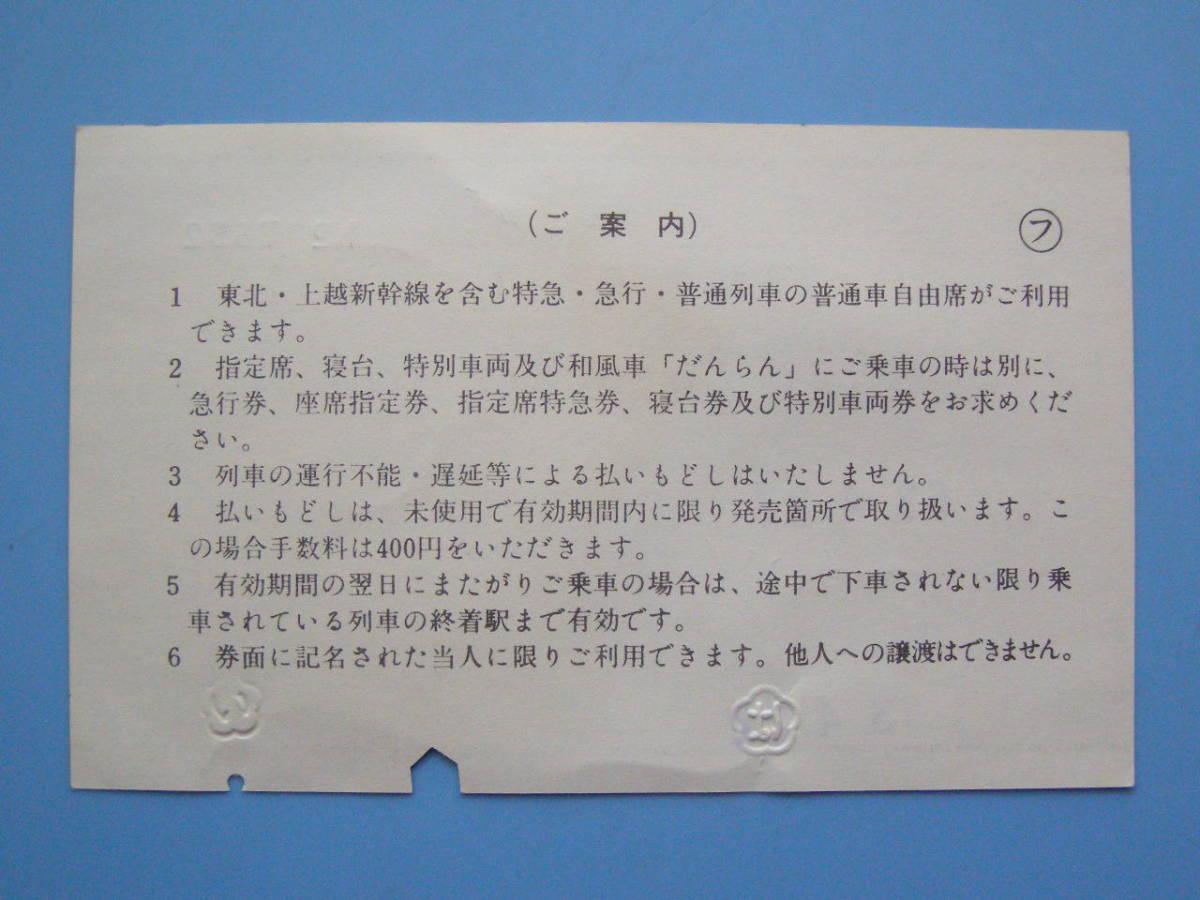(J33) 切符 鉄道切符 軟券 乗車券 EEきっぷ 東日本旅客鉄道会社線全線 63-4-22 新潟 発行_画像2