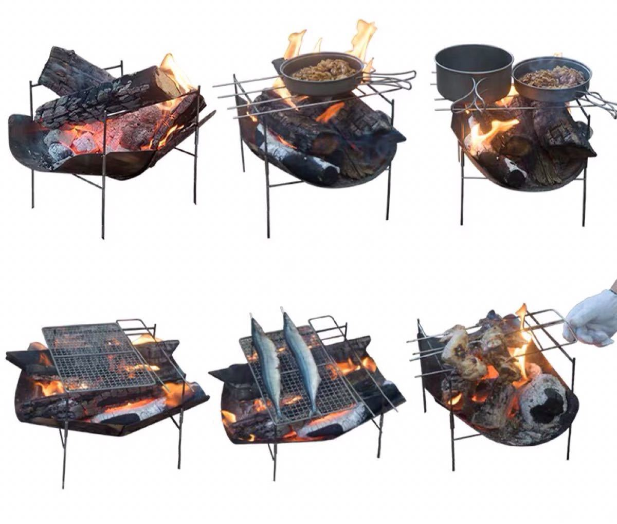 焚き火台 頑丈 キャンプ用品 スピット3本付属 バーベキューコンロ バーベキューグリル ステンレス製 軽量 頑丈