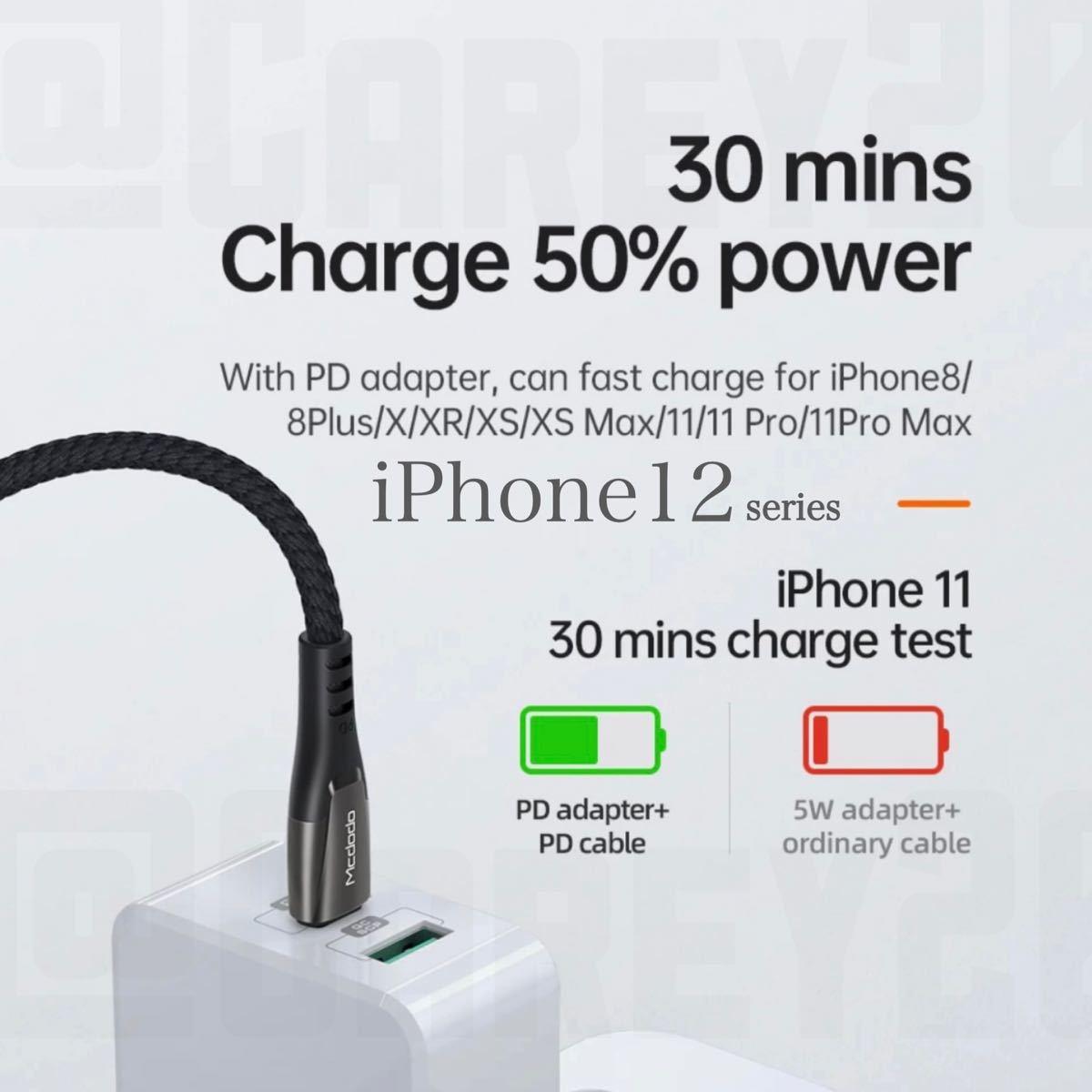 iPhone12 iPad 36w インジケーター付USB-C ライトニング ケーブル 高級 高品質 高耐久 ハイスペック 充電