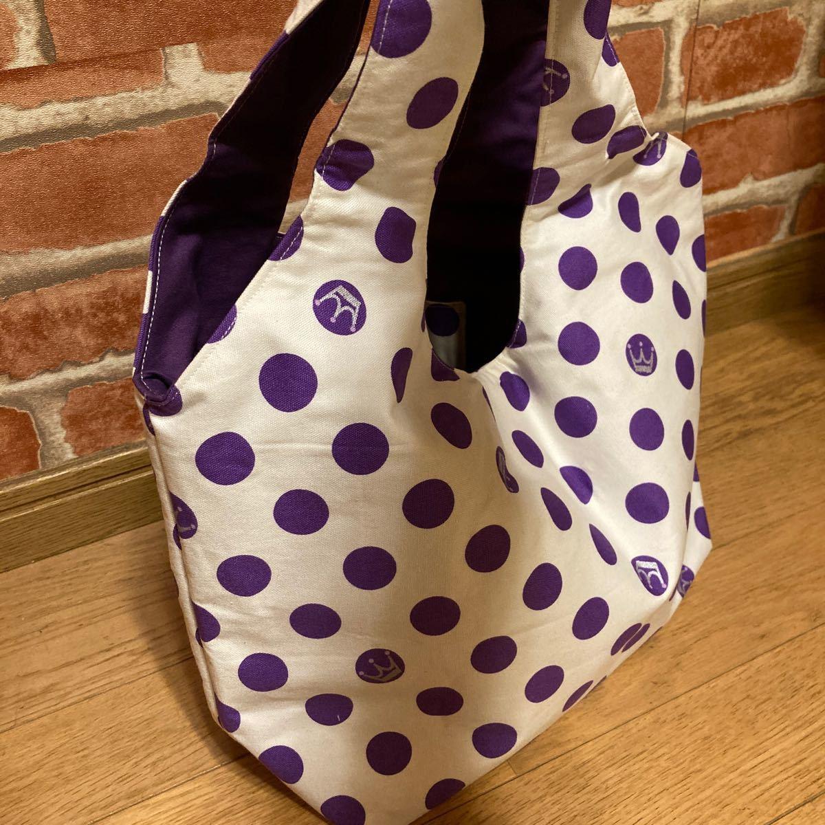 ハンドメイド 王冠 水玉紫 持ち手一体型バッグ
