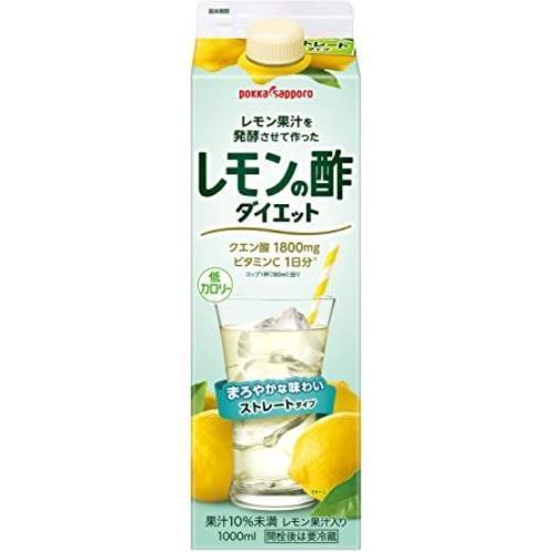 ★特価★-1- ポッカサッポロ レモン果汁を発酵させて作ったレモンの酢 ダイエットストレート (紙パック) 1L×6本_画像1
