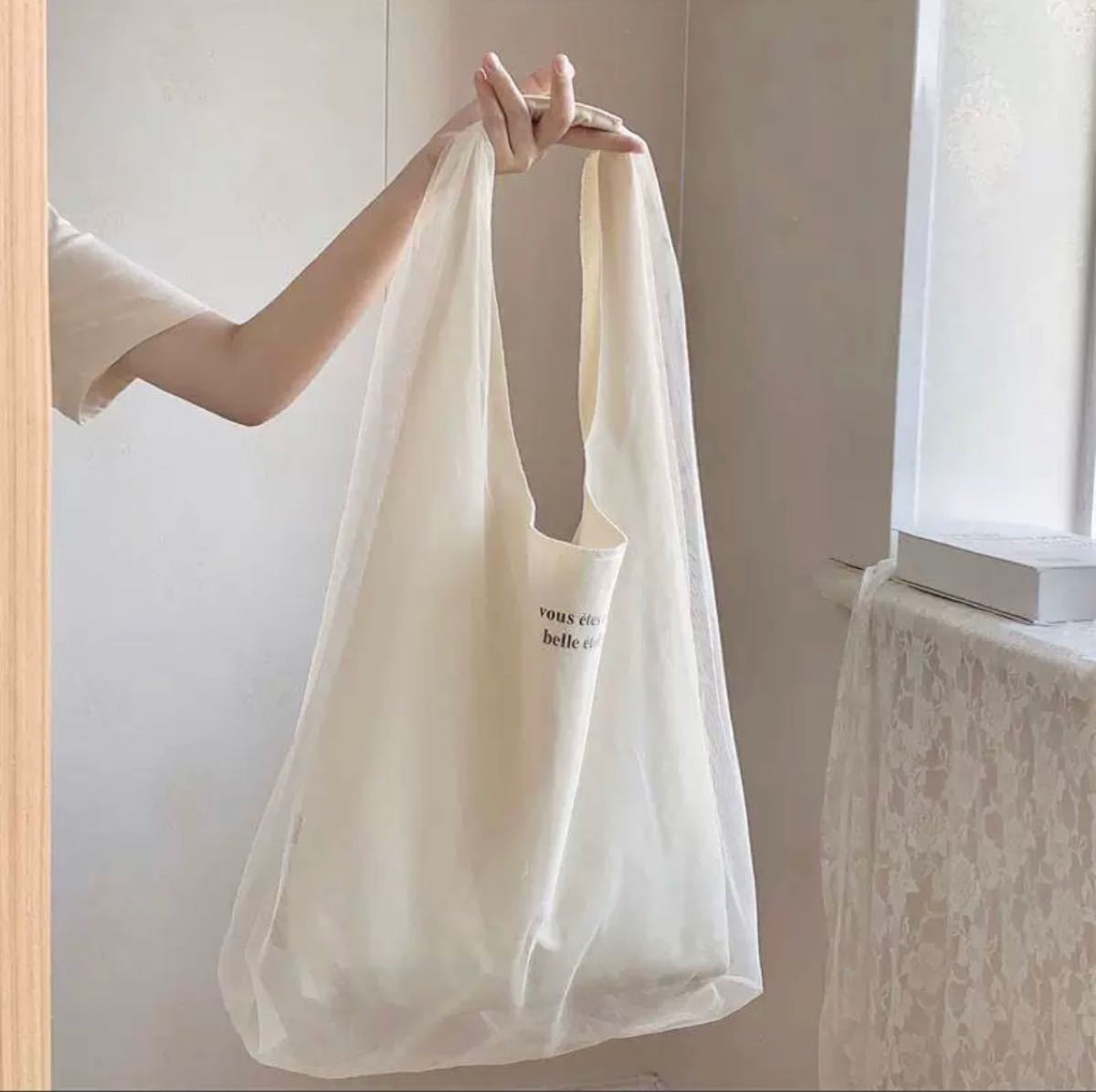 エコバッグ レーストートバッグ 買い物袋・ショッピングバッグ 韓国ファッション ハンモックバッグ 折り畳みバッグ