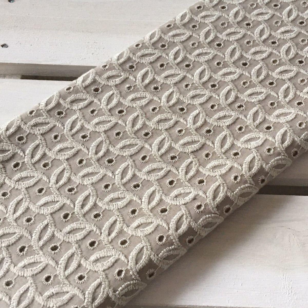 国産高級刺繍レース生地 小さめ編み目柄刺繍コットンレース生地 刺繍生地 ハギレ