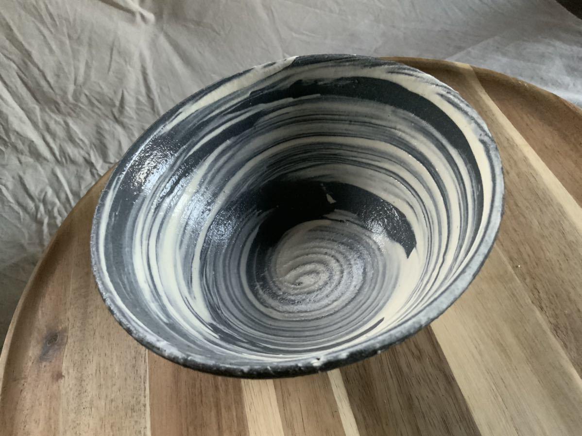 68 黒御影土 刷毛目 どんぶり 大鉢 丼 陶器 和食器_画像3