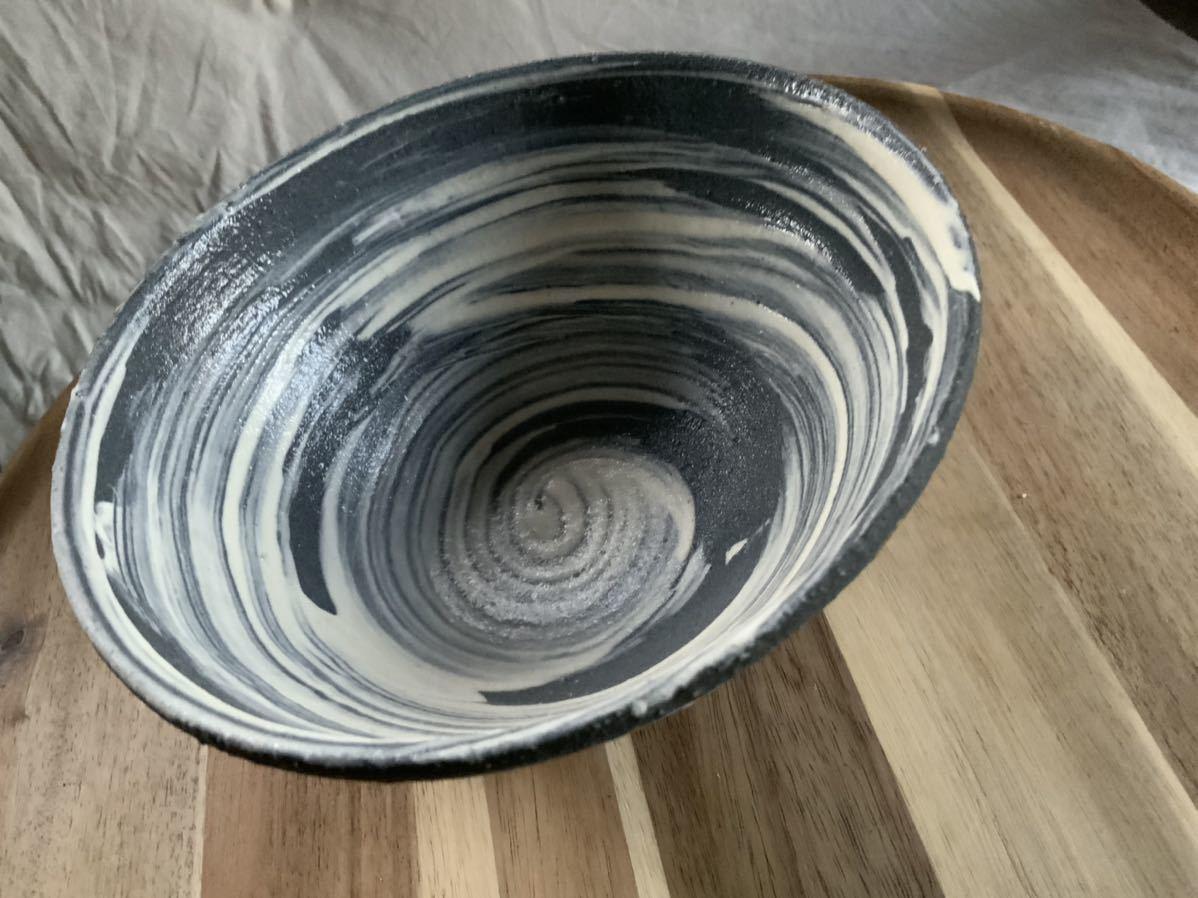 68 黒御影土 刷毛目 どんぶり 大鉢 丼 陶器 和食器_画像1