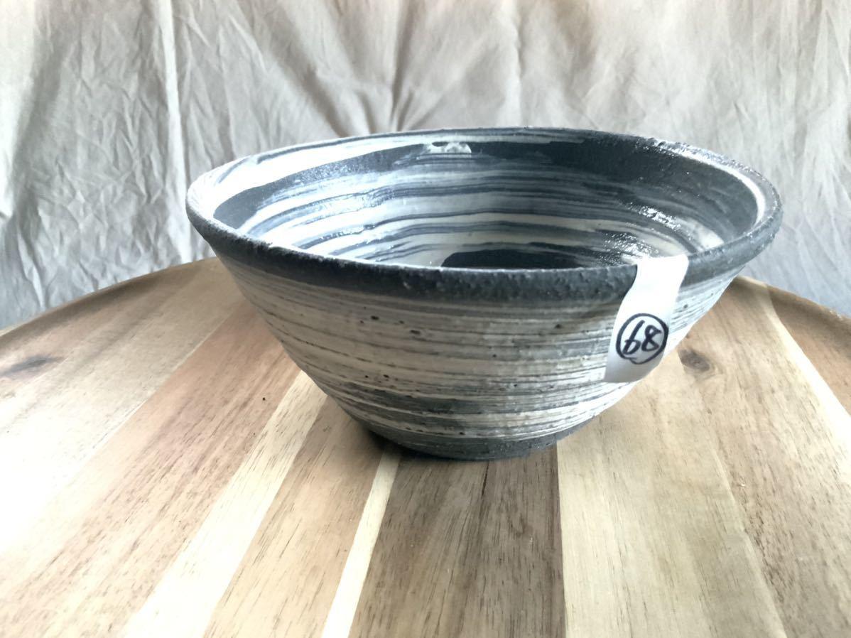 68 黒御影土 刷毛目 どんぶり 大鉢 丼 陶器 和食器_画像7